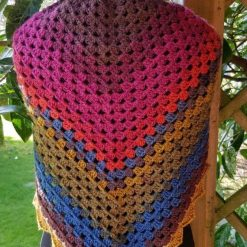 Shawl/scarf/wrap crocheted. Multi colours with decorative edging 7