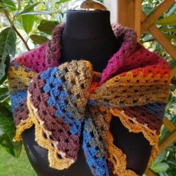 Shawl/scarf/wrap crocheted. Multi colours with decorative edging 8