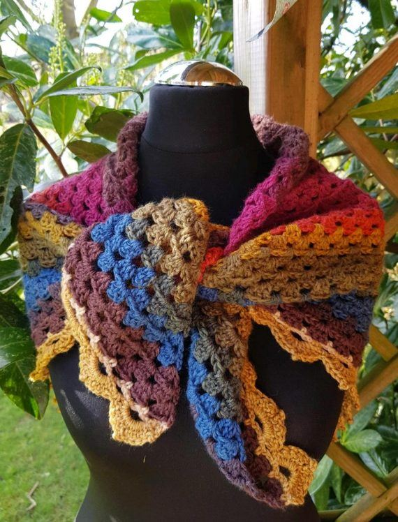 Shawl/scarf/wrap crocheted. Multi colours with decorative edging 3
