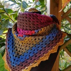 Shawl/scarf/wrap crocheted. Multi colours with decorative edging 10