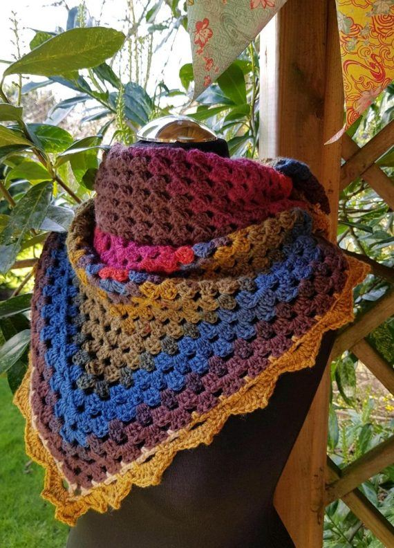 Shawl/scarf/wrap crocheted. Multi colours with decorative edging 5