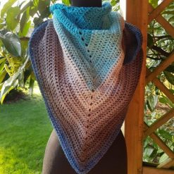 Handmade crocheted shawls/neck wrap. Blue and grey colour