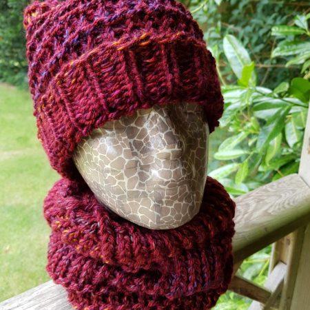 Handmade loom knitted red multi