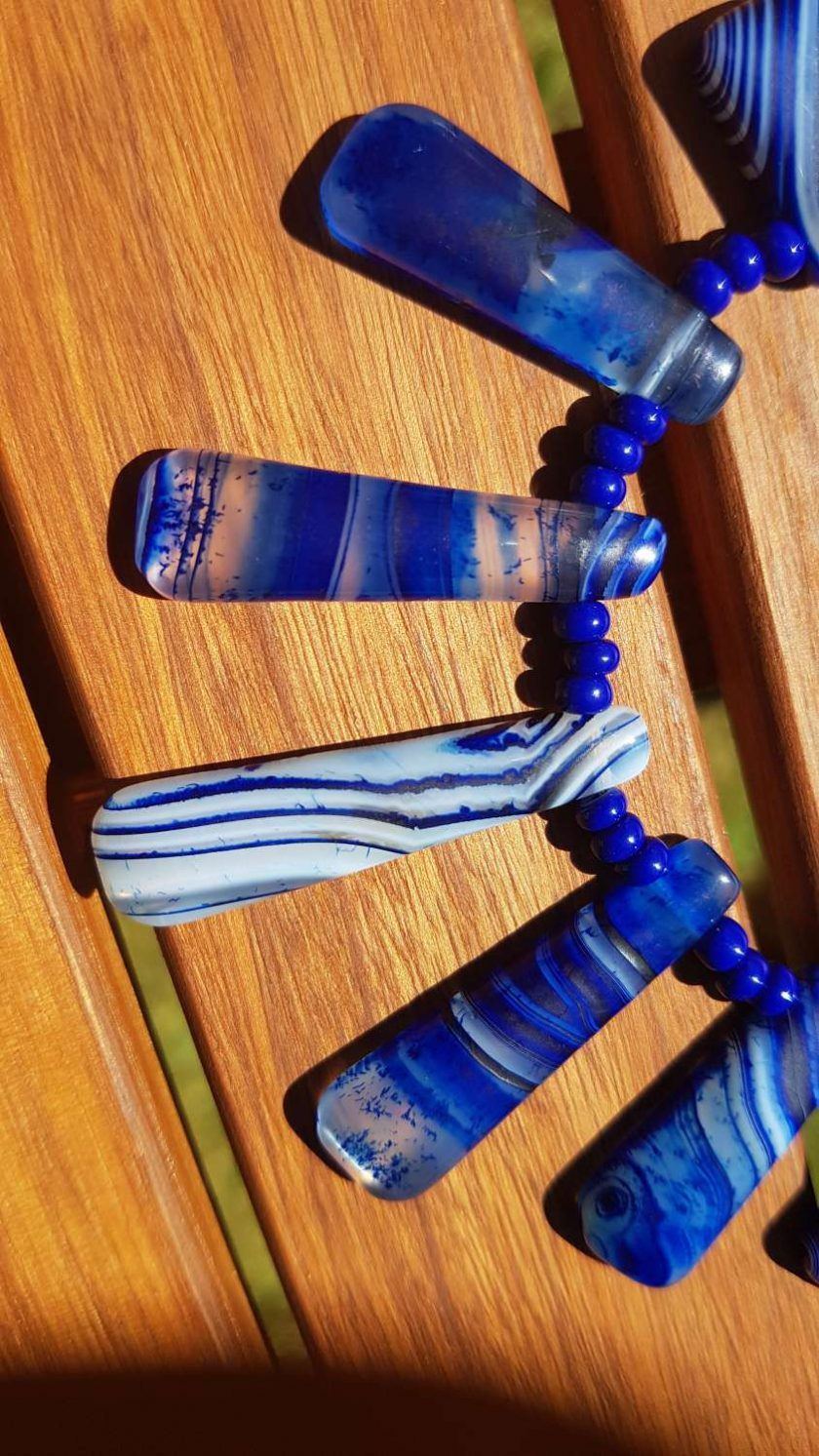 Blue Agate Cleopatra style Necklace 1
