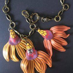 Cone Flower Necklace (Orange)