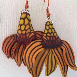 Cone Flower Earrings (Orange)