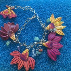 Cone Flower and Butterfly Dangle Bangle (Pink)