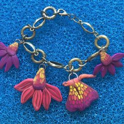 Cone Flower and butterfly Charm Bangle