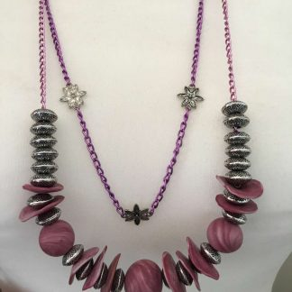 Abstract Chain Necklace (Pink)