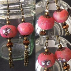 Earrings with a Rose and Bee Design
