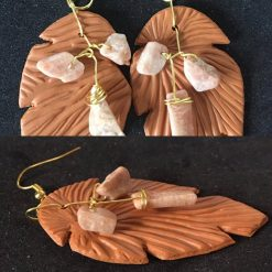 Earrings - Feather design with Agate chips (Tan)
