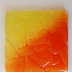 Fused glass coaster - Fire 3