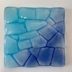 Fused glass coaster - Ice 3