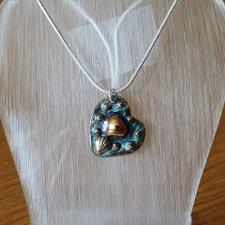 Heart Pendant with Patina & Gold Central Acccent