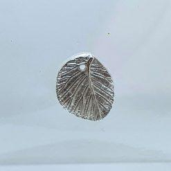 Fine Silver Leaf Texture Pendant