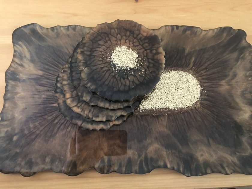 Resin tray and coasters set 4