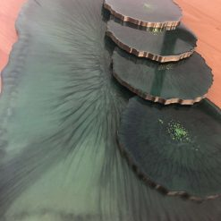 Green Resin tray and coasters set 5