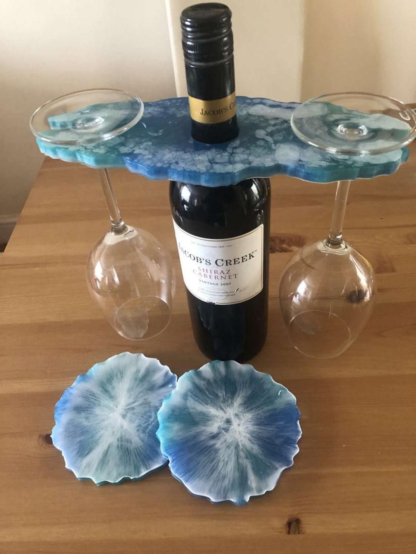 Resin wine butler/caddy and coasters 1
