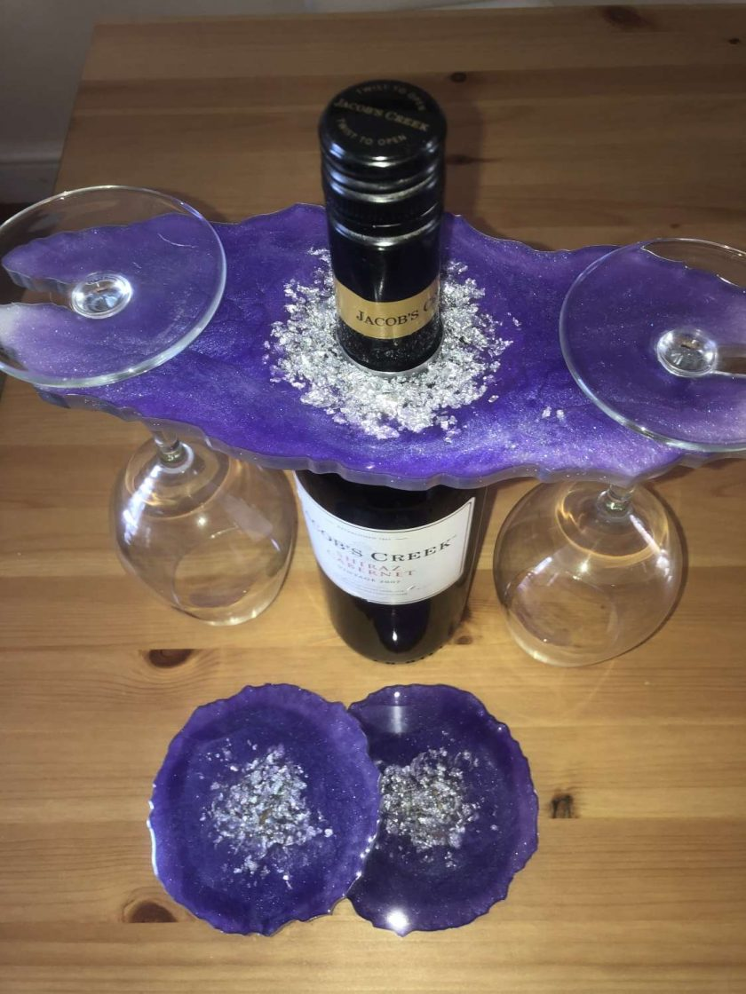 Resin wine butler/caddy and coasters 4