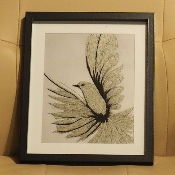 bird threadpainting. Artwork. Home decore. 1