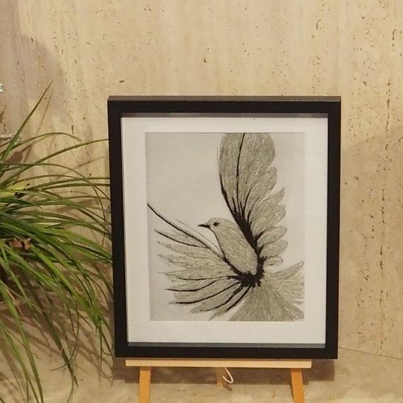 bird threadpainting. Artwork. Home decore. 3