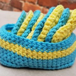Crocheted face scrubbies with basket 6