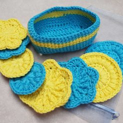 Crocheted face scrubbies with basket 9
