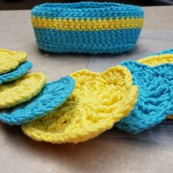 Crocheted face scrubbies with basket 8