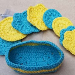 Crocheted face scrubbies with basket 7