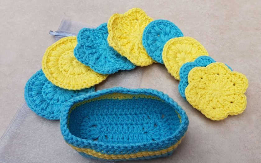 Crocheted face scrubbies with basket 3