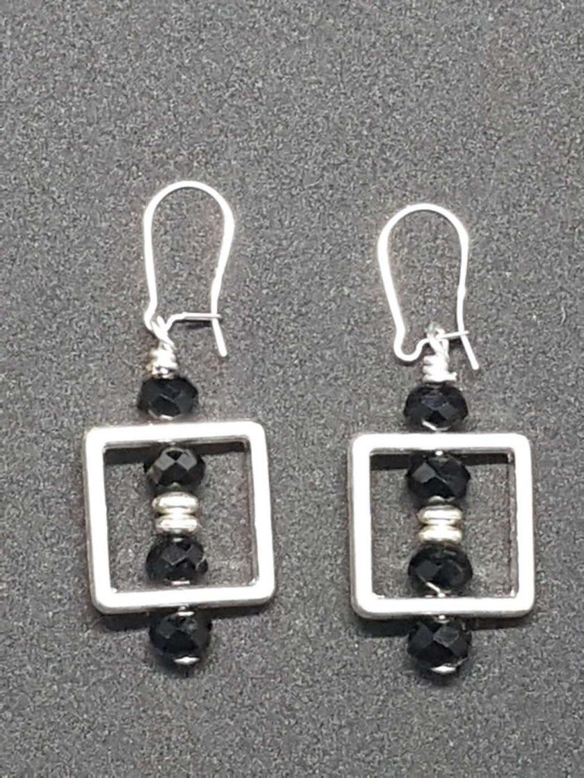 Black and silver Geometric Earrings 1
