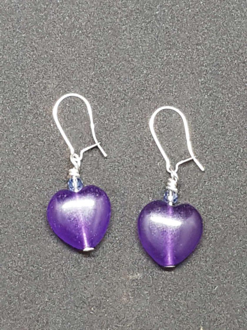 Amethyst Heart shaped Earrings 1