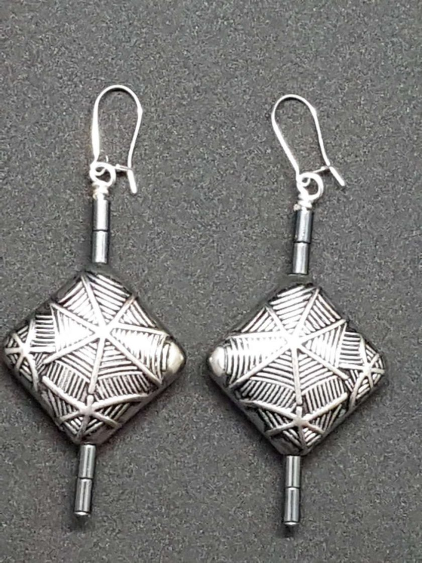 Grey Etched effect Earrings 1