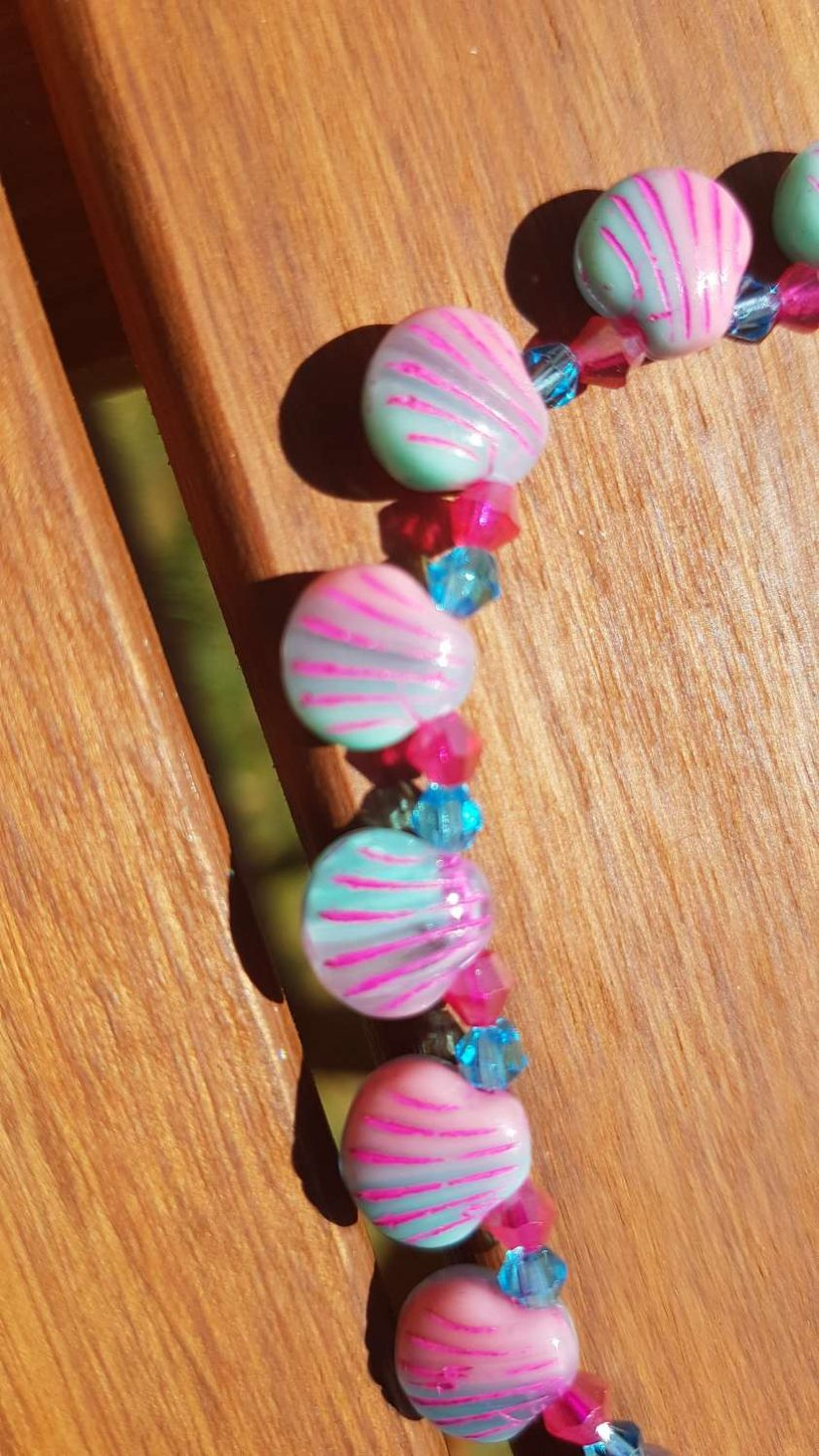 Pink/Blue Glass shell necklace 1