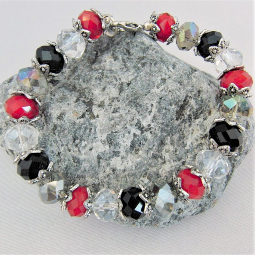 Crystal Bracelet Made With Red Black and Clear Crystals and Silver Plated Bead Caps, Gift for Her 5