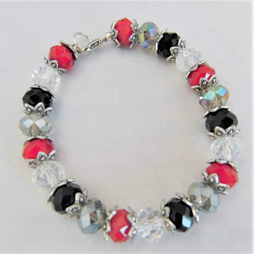 Crystal Bracelet Made With Red Black and Clear Crystals and Silver Plated Bead Caps, Gift for Her 4