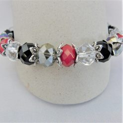 Crystal Bracelet Made With Red Black and Clear Crystals and Silver Plated Bead Caps, Gift for Her 7