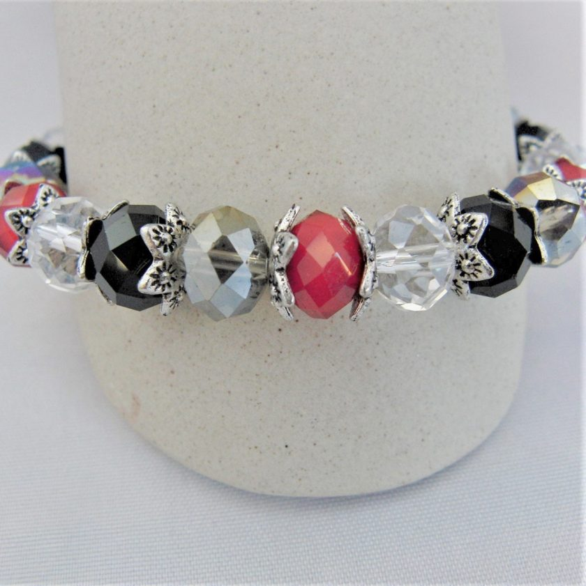 Crystal Bracelet Made With Red Black and Clear Crystals and Silver Plated Bead Caps, Gift for Her 3