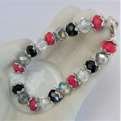 Crystal Bracelet Made With Red Black and Clear Crystals and Silver Plated Bead Caps, Gift for Her 6