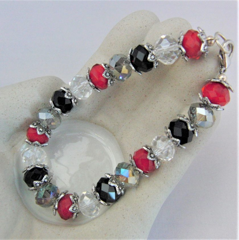 Crystal Bracelet Made With Red Black and Clear Crystals and Silver Plated Bead Caps, Gift for Her 2