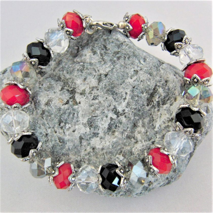 Crystal Bracelet Made With Red Black and Clear Crystals and Silver Plated Bead Caps, Gift for Her 1