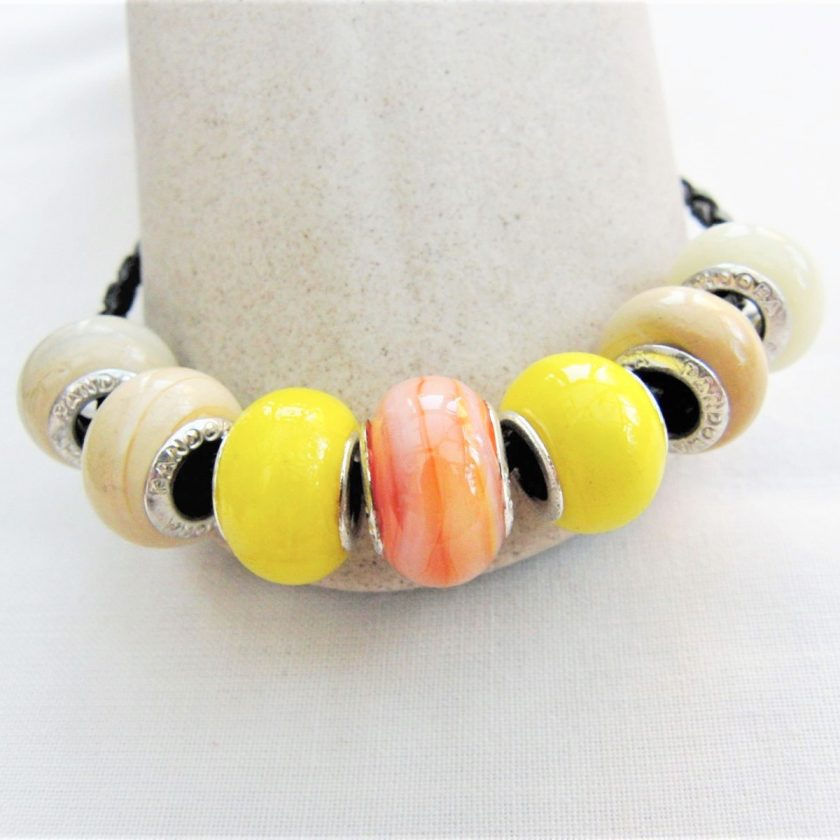Beaded Bracelet Made With Yellow and Coffee Lampwork on a Plaited Leather Band, Gift for Her 1