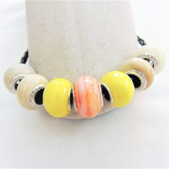 Beaded Bracelet Made With Yellow and Coffee Lampwork on a Plaited Leather Band, Gift for Her 8