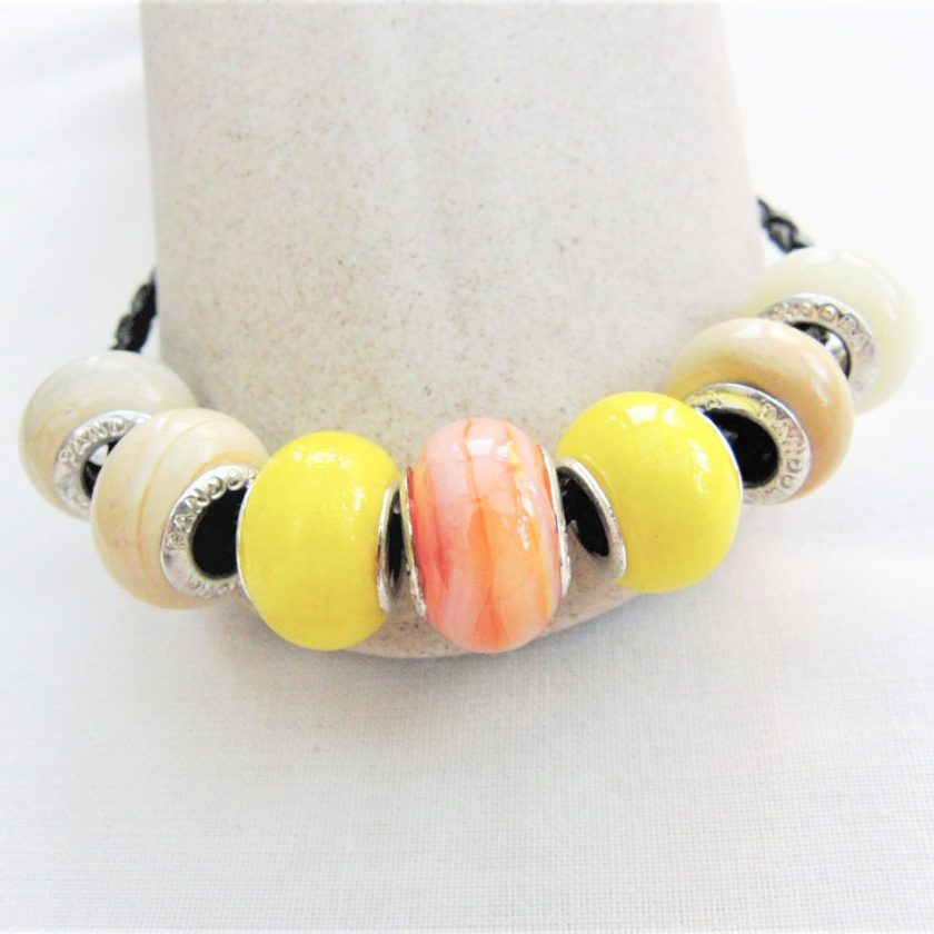 Beaded Bracelet Made With Yellow and Coffee Lampwork on a Plaited Leather Band, Gift for Her 3