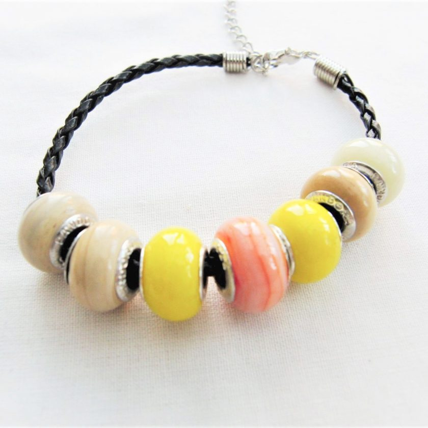 Beaded Bracelet Made With Yellow and Coffee Lampwork on a Plaited Leather Band, Gift for Her 4