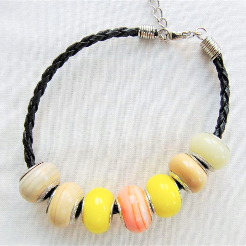 Beaded Bracelet Made With Yellow and Coffee Lampwork on a Plaited Leather Band, Gift for Her 6