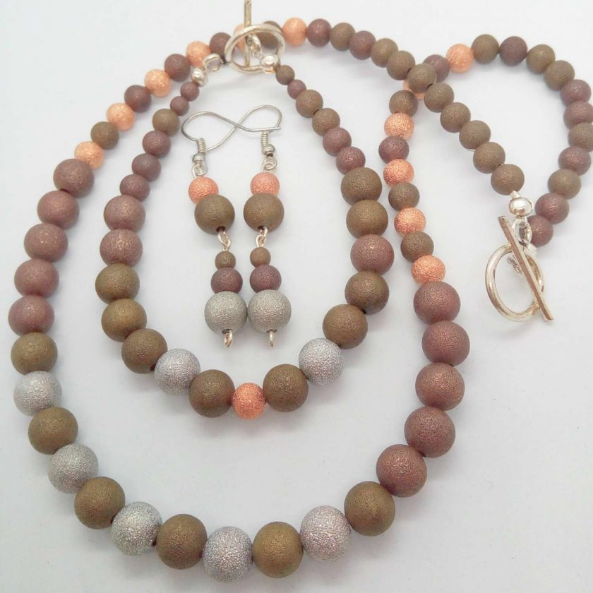 Jewellery Set Made Using Gold Silver and Bronze Stardust Beads, Gift for Her 1