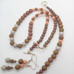 Jewellery Set Made Using Gold Silver and Bronze Stardust Beads, Gift for Her 7