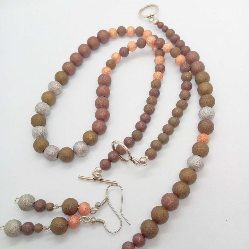 Jewellery Set Made Using Gold Silver and Bronze Stardust Beads, Gift for Her 2