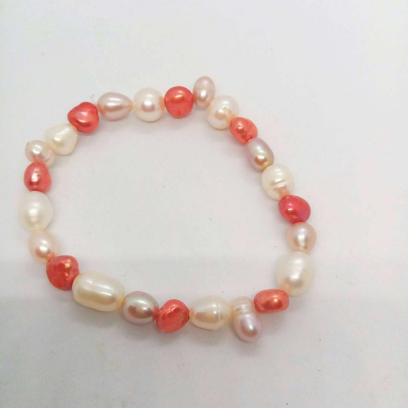Peaches and Cream Freshwater Pearl Jewellery Set With A Mother of Pearl Pendant, Gift for Her 4